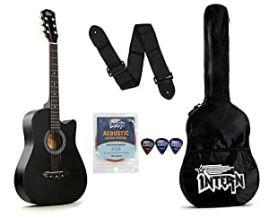 Intern INT-38C Acoustic Guitar Kit, Black