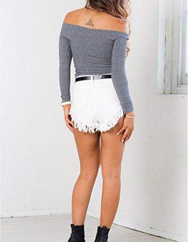 ZEARO Sexy Damen Crop Tops Pullover Pulli Sweater Sweatshirt Langarm Schulterfrei Bluse Oberteile Grau