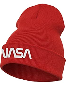 Mister té NASA Worm Logo Beanie Cap, Red, One Size