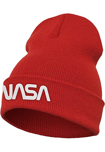 Mister Tee Nasa Worm Logo Beanie Cap, Red, One Size