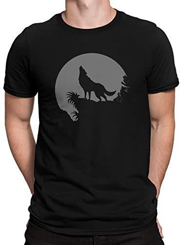 Vollmond-kinder T-shirt (vanVerden Herren T-Shirt Heulender Wolf Vollmond Voll Mond Werwolf, Größe:4XL, Farbe:Schwarz)