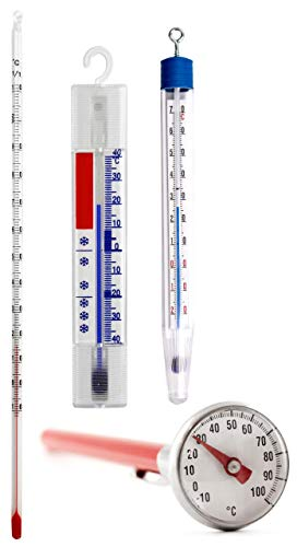 Lantelme Braten Kühlschrank Tee Teig Thermometer Küchenthermometer Set 4 tlg Analog Edelstahl Glas Kunststoff 2160 -