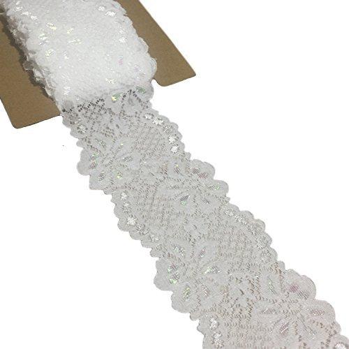 Spitze Realm 2,25″ × 10Meter Stretch Blumenmuster Spitze Ribbon Trim Spitze für Headbands Strumpfbänder Dekorieren Floral entwerfen & Crafts (weiß)
