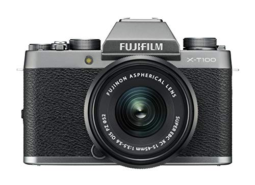 "Fujifilm Kit X-T100 Fotocamera Digitale 24MP, Mirino EVF, Schermo LCD Touch da 3"" Inclinabile a 180°, WiFi e Bluetooth + XC 15-45mm F/3.5-5.6 OIS PZ MILC, 24.2MP, CMOS, Argento Scuro"