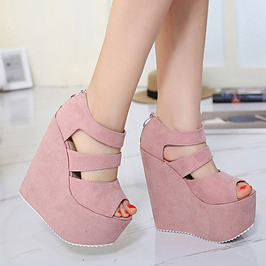 LvYuan Sandali-Formale-Club Shoes-Zeppa-Felpato-Nero Rosa Black