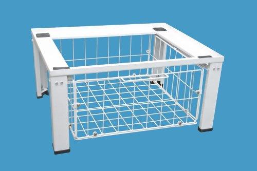daniplus© Untergestell, Unterbausockel für Waschmaschine / Trockner mit Drahtkorb für weiteren Stauraum