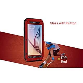 LOVE MEI Aluminum Waterproof Case for Samsung Galaxy S6 (SM-G920A/SM-G920L/SM-G920P/SM-G920T/SM-G920V etc. Versions), Shockproof Metal with Gorilla Glass Cover *Two-Years Warry* Red with Home Key Plate