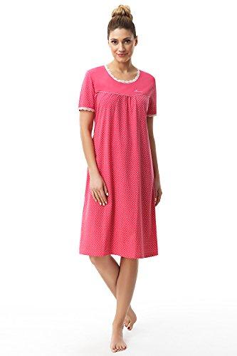 Sleepshirt Aus Reiner Baumwolle (e.FEMME Damen Nachthemd Dolly 1658 mit Kurz Arm aus Reiner und Weicher Baumwolle in Farbe Amarantrot in Größe 38)