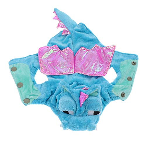 B Blesiya Dinosaurier Kostüm Hundejacke Hundemantel Halloween Cosplay Kleidung - Blau, S