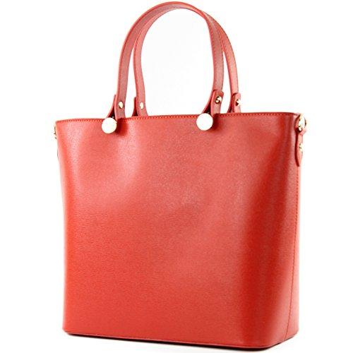 modamoda de - ital. Ledertasche Damentasche Shopper Tragetasche Elegant Echtleder T132 Orangerot