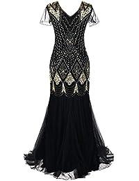 diandianshop Women Dress Vintage 1920s Beaded Fringe Sequin Lace Party  Flapper Cocktail Prom Dress 6dcf91908ba0
