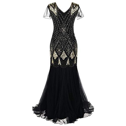 OverDose Damen Damen Abendkleid 20er Jahre Kleid Pailletten Gatsby Maxi Langes (Coole Make Up Kostüme)