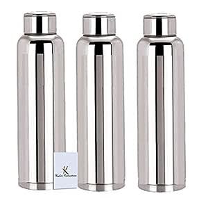 Kuber IndustriesTM Stainless Steel 3 Pcs Fridge Water Bottle/Refrigerator Bottle/Thunder(1000 ML)-CTKTC6003