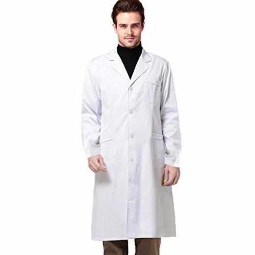 Weiß Mantel Arbeitskleidung Herbst Winter Apotheke, Schönheitssalon Labor, vor Schönheit Kleid, weißen Mantel,V Kragen Halloween Cosplay Kostüme (Halloween Kleid Tumblr)