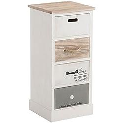 IDIMEX Chiffonnier Salva Commode 4 tiroirs en Bois de Paulownia Style Shabby Chic Vintage Rustique Blanc