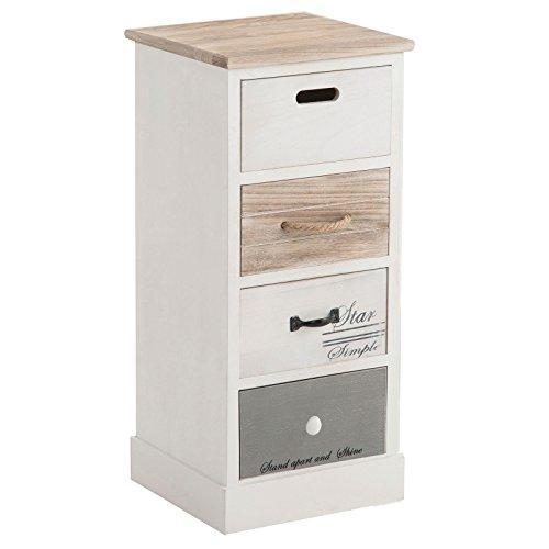 CARO-Möbel Schubladenregal Salva Kommode Standregal Aufbewahrungsregal in weiß, Shabby Chic Vintage Look, mit 4 Schubladen - Schublade, Breite Kommode