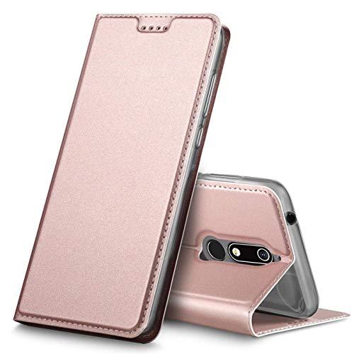 Verco Handyhülle kompatibel mit Nokia 7.1, Premium Handy Flip Cover für Nokia 7.1 Hülle [integr. Magnet] Case Tasche, Rosegold