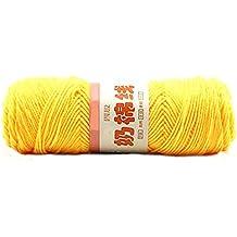 New Super Soft Leche de algodón que hacen punto bufanda de lana que teje ganchillo de lana Hilado-Amarillo