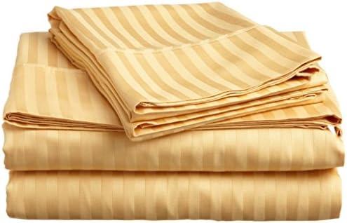 Dreamz Parure di letto lenzuolo di 400-thread-count – Set Set Set di 6 (una tasca profonda  45,7 cm) Euro oro super king Dimensione, motivo a righe 100% cotone egiziano 6dcfbf