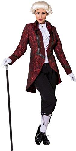 ORLOB Damen Kostüm Barock Gräfin Jacke in weinrot Karneval Fasching Gr.36