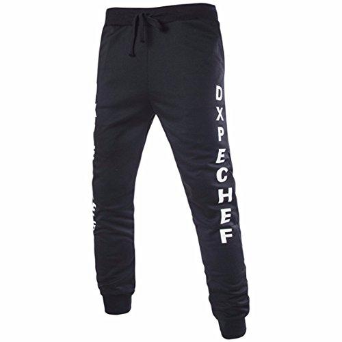 Men's Casual Pants Letter Pattern Trousers Black White