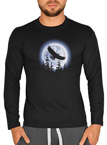 Indianer Langarm-Shirt Herren Longsleeve lässiger USA Aufdruck: Eagle Moon Schwarz