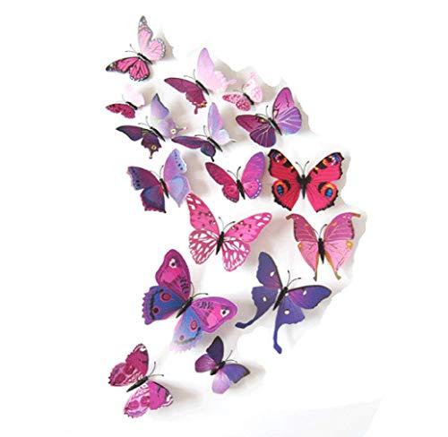 Carry stone Wandaufkleber 3D Schmetterling Wandaufkleber Neue Kunst Design Aufkleber Wand Stickershome Decor Room Café Büro Dekoration 12 stücke Lila