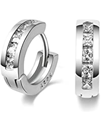 Mu & Nin End of line clearance, Platinum Filled sterling silver with Diamond Sparkly Crystal Hoop Earrings