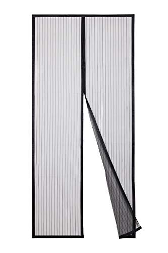 Sekey Magnet Fliegengitter Tür Vorhang für Holz, Eisen, Aluminium Türen und Balkon. Einfache Installation (210 x 90cm, Schwarz)