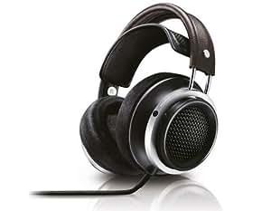 Philips Fidelio X1/00 Premium HiFi-Stereokopfhörer aus hochwertigem Leder mit 50 mm Neodym-Treiber, schwarz/braun/silber