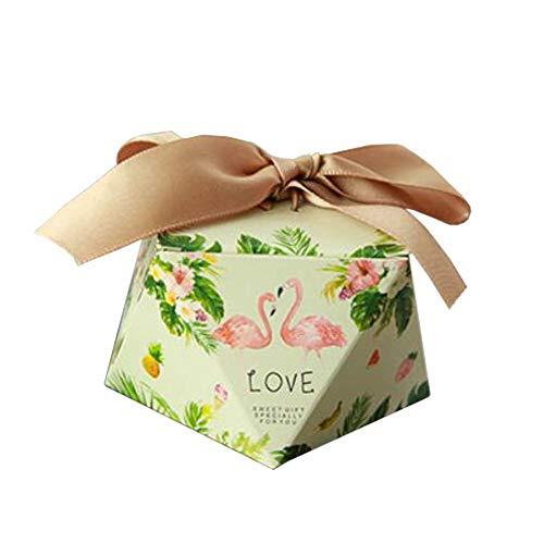 Chinashow 50 Stück Dekorative Festlichkeits-Kasten-Hochzeitsfest-Bevorzugungs-Kasten-Süßigkeits-Taschen-Schokoladen-Geschenkboxen Flamingo