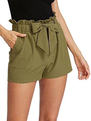 ROMWE Damen Locker Elastischem Taillenband Schleife Tasche Hoch Taille Sommer Strand Shorts Armee Grün M