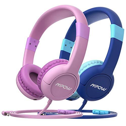 Mpow CH1S (2 Packungen) Kinder-Kopfhörer mit Lautstärke von 85 dB Gehörschutz Limitierte Lautstärke mit Mikrofon, Kopfhörer mit Musikwechselfunktion im Ohr (Kinder-kopfhörer Für Amazon Kindle Fire)