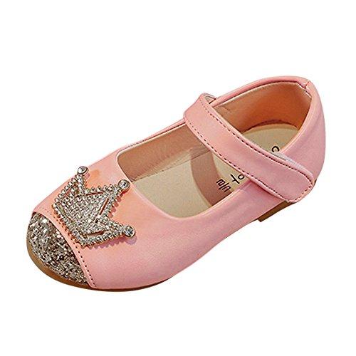 EUCoo_shoes Weibliche Kinder Sandalen Krone Pailletten Prinzessin Schuhe Tanzschuhe (1-9 Jahre alt)(Rosa, 25) (Für Prinzessin Krone Verkauf)