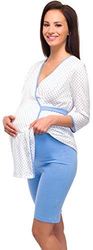 Be Mammy Damen Stillpyjama 1L6S2 Weiß/Blau