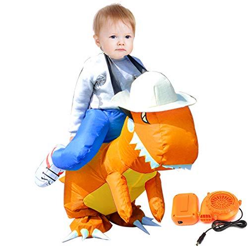 OMAS Halloween Kostüm aufblasbare Dinosaurier T-REX Kostüm für Kinder,Orange (Orange Trex Kostüme Für Kinder)
