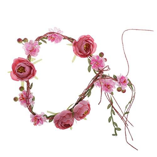 Generic Blumenkranz, Hochzeit Blumen Haarband, Blumenkrone, Blumenstirnband, Kopfkranz Garland, Brautschmuck - Rosa