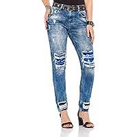 Cipo&Baxx WD305 Payet Yamalı Yırtık Yüksek Bel Bayan Mavi Jeans