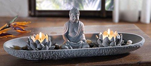 """Deko-Set \""""Zen-Garten länglich\"""" mit Buddha grau Feng Shui Relaxn"""
