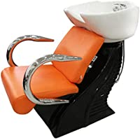 LOVECRAZY - Lavacabezas con Sillones de Salón Peluquería Barberos Sillones para Lavar Peluquería (Naranja)