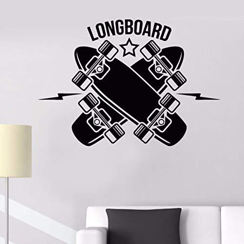 jiuyaomai Vinyl Wandtattoo Abnehmbare Longboard Skateboarding Sport Wandkunst Aufkleber Teen Raum Aufkleber Longboard Sport Wandtattoo grau 82x57cm (Kommode Teens Knöpfe Für)