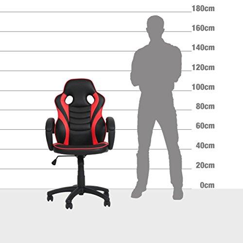 Ribelli® Bürostuhl im Racing Style - Gaming-Stuhl stufenlos höhenverstellbar ca. 60,5 x 107-117 x 56 cm in Lederoptik - mit Rollen - versch. Farben (Rot) - 7