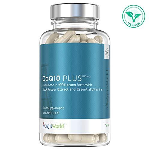 CoQ10 PLUS - Complément Alimentaire Naturel et Vegan - Antioxydant Puissant et Anti Age - Coenzyme q10 Pur Ubiquinone pour le Soutien Immunitaire - Riche en Vitamine - par WeightWorld