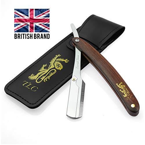 Earnest James - Sheffield England Rasiermesser und Etui aus Edelstahl - klassisches Bartmesser mit hochwertigem Griff aus Rosenholz für eine gründliche Rasur wie der Friseur - für Anfänger und Profis -