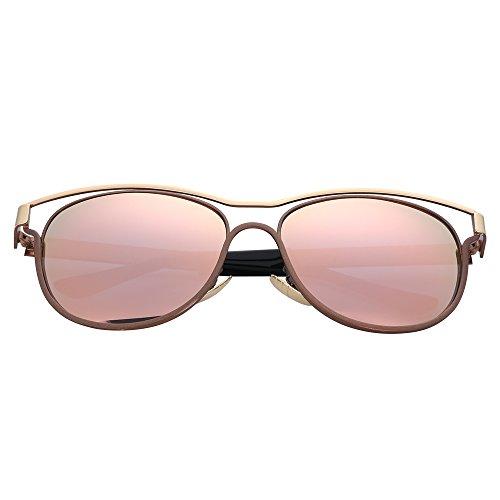 Menton Ezil Ritter Flügel einzigartige quadratische Augenbraue Stil weiß Bold Metallrahmen Spiegellinse Sonnenbrille für Männer und Frauen ... (Pink 4)