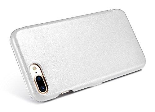 Luxus Tasche für Apple iPhone 8 Plus und iPhone 7 Plus (5.5 Zoll) / Case mit Echt-Leder Außenseite / Schutz-Hülle seitlich aufklappbar / ultra-slim Cover / Etui mit Textil-Innenseite / Farbe: Weiß - Bild 8
