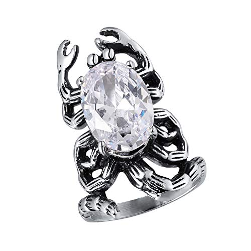 (Beydodo Titanring Männer Silber Skorpion Oval Weiß Zirkonia Vintage Punk Ring Freundschaftsring Größe 60 (19.1))