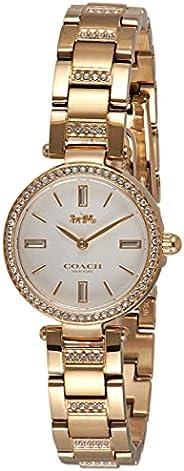 ساعة بسوار رفيع مكون من طبقة واحدة من الستانلس ستيل مطلية بطلاء ايوني بالذهب بمينا بيضاء وزجاج كريستال للنساء