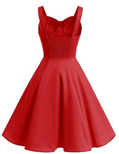 Dresstells Schultergurt 1950er Retro Schwingen Pinup Rockabilly Kleid Faltenrock Red