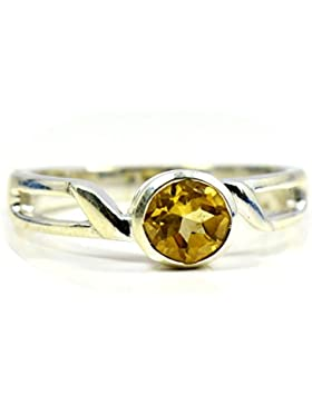 gemsonclick natur Citrin Ring Runde Form 925Sterling Silber gocmsr-310